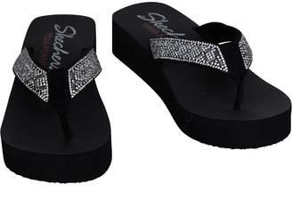 Skechers Womens Vinyasa Lotus Princess Wedged Flip Flops Black