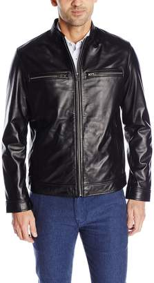 Cole Haan Men's Smooth Lamb Skin Moto Leather Jacket