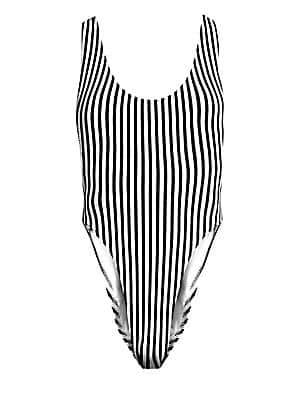 e02c60ee85 Norma Kamali Women's Marissa Stripe High-Cut One-Piece Swimsuit