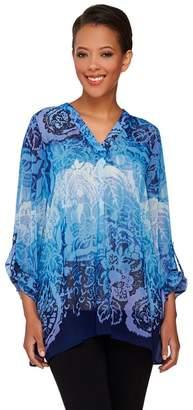 Susan Graver Printed Sheer Chiffon Tunic with Roll Tab Sleeves