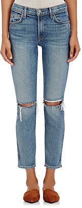 GRLFRND Women's Naomi Distressed Crop Jeans $248 thestylecure.com