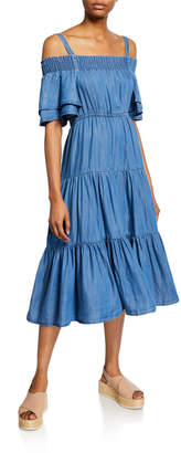 philosophy Off-the-Shoulder Chambray Tiered Flounce Midi Dress