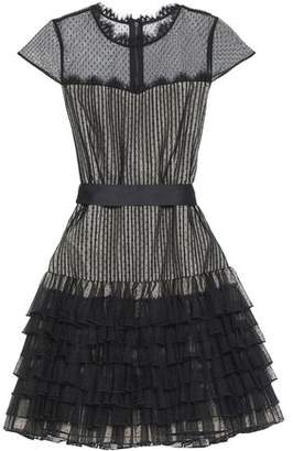 Alice + Olivia Alice+olivia Lace-Trimmed Ruffled Point D'esprit Mini Dress