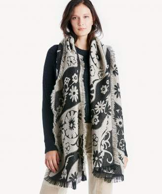 Sole Society Textured Floral Embroidered Blanket Scarf