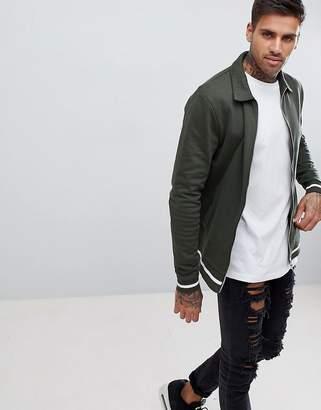 Asos DESIGN jersey harrington jacket in dark green with white tipping