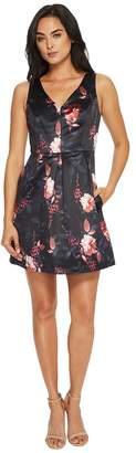 CeCe Rose Sleeveless V-Neck Pleated Floral Dress Women's Dress