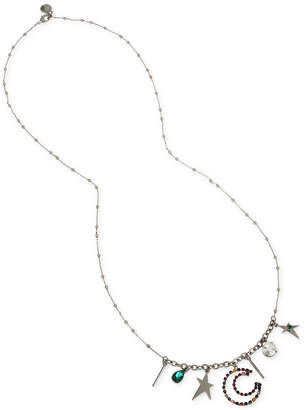 "BCBGMAXAZRIA Hematite-Tone Crystal Multi-Charm 31"" Statement Necklace"