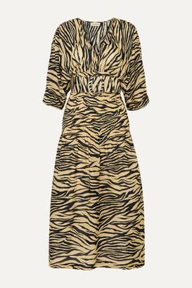 Nicholas Belted Smocked Zebra-print Cotton And Silk-blend Midi Dress