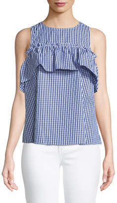 London Times Cold-Shoulder Gingham Swing Blouse