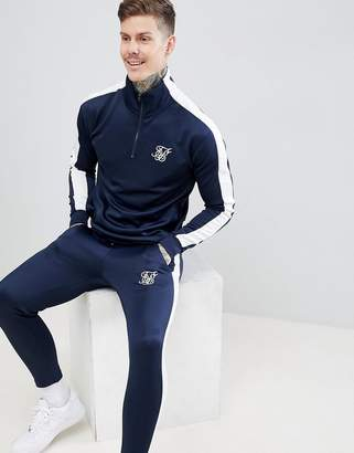 SikSilk cropped jogger in navy with white side stripe
