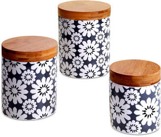 Certified International Chelsea Mix & Match Gray Floral Canisters, Set of 3