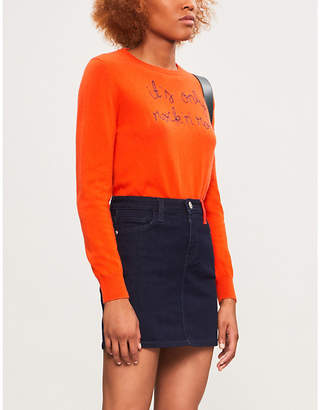 N. LINGUA FRANCA It's Only Rock 'n' Roll embroidered cashmere jumper