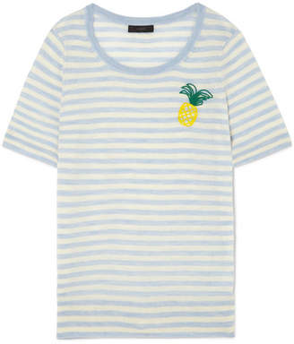J.Crew Embroidered Striped Merino Wool T-shirt - Sky blue