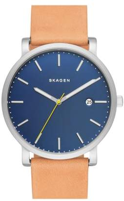 Skagen Hagen Leather Strap Watch, 40mm