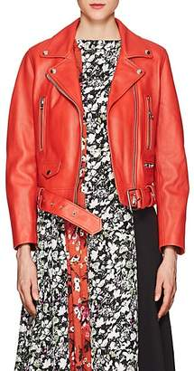 "Acne Studios Women's ""Mock"" Leather Moto Jacket - Red"