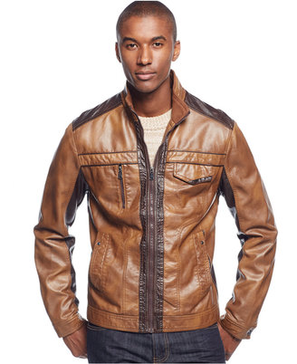 INC International Concepts Men's Jones Two-Tone Faux-Leather Jacket, Only at Macy's $129.50 thestylecure.com