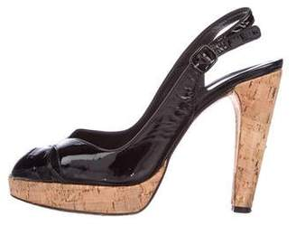 Stuart Weitzman Patent Leather Cork Sandals