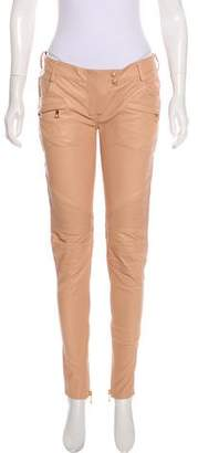 Balmain Mid-Rise Leather Pants