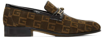Gucci Brown Suede GG Fox Loafers