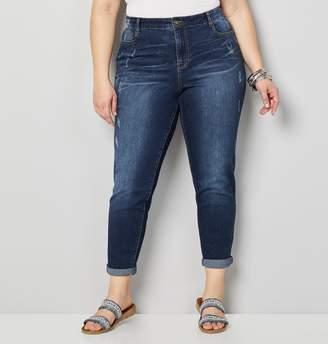 Avenue Plus Size Cuffed Destructed Skinny Jean In Dark Wash