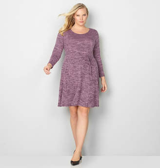 Avenue Spacedye Hacci Fit and Flare Dress with Tie