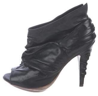 AllSaints Leather Peep-Toe Booties