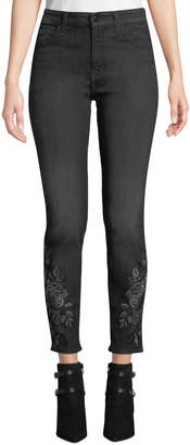 7 For All Mankind Jen7 By Metallic Floral-Embroidery Ankle Skinny Jeans