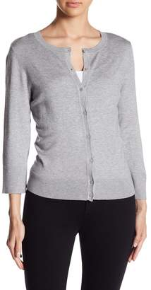 Susina 3/4 Length Sleeve Crew Neck Cardigan (Regular & Petite)