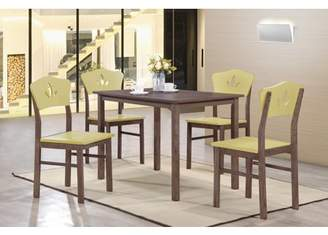 """Pilaster Designs Lori 5 Piece Chocolate Wood Contemporary 43"""" Rectangular Kitchen Dinette Dining Table & 4 Yellow Crownback Side Chairs Set"""