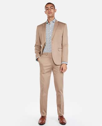 Express Slim Light Brown Cotton Sateen Stretch Suit Pant