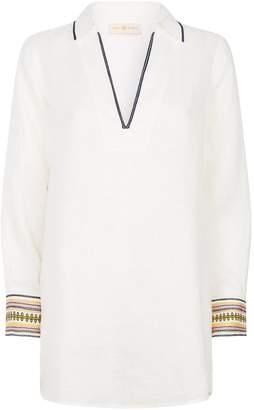 Tory Burch Embroidered Linen Beach Shirt