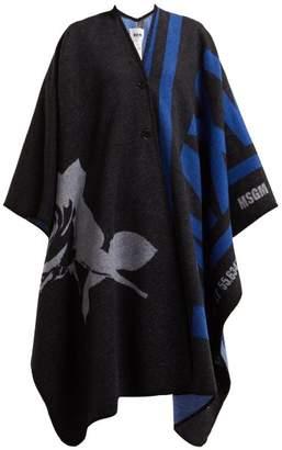 MSGM Oversized Wool Blend Cape - Womens - Black Multi