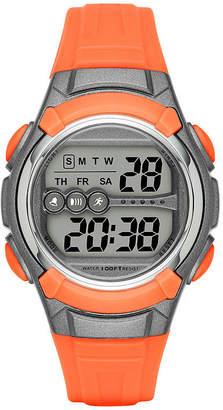 FASHION WATCHES Womens Grey Case Orange Plastic Strap Digital Watch