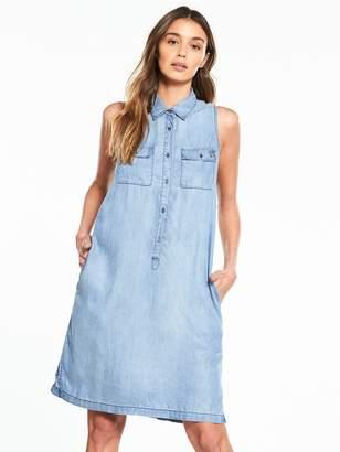 Replay Sleeveless Denim Shirt Dress