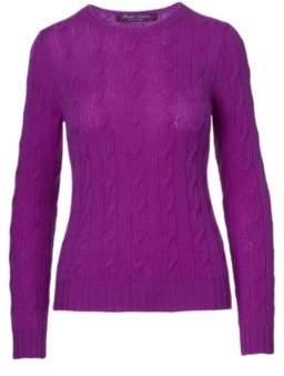 Ralph Lauren Cable-Knit Cashmere Sweater Lux Bright Purple S