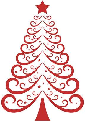 Vinyl Design Christmas Tree 2 Wall Decal, Vinyl Red
