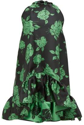 MSGM Ruffled Floral Jacquard Mini Dress - Womens - Black Multi