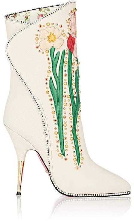 Gucci Women's Floral-Appliquéd Leather Ankle Boots