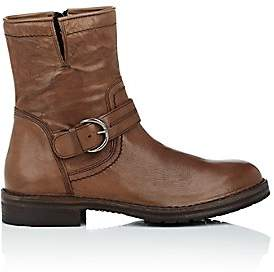 Barneys New York MEN'S WASHED LEATHER MOTO BOOTS - BROWN SIZE 9 M