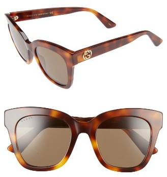 Women's Gucci 50Mm Cat Eye Sunglasses - Havana/ Brown $385 thestylecure.com