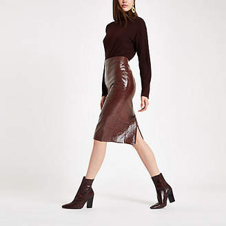 River Island Dark red vinyl back split pencil skirt