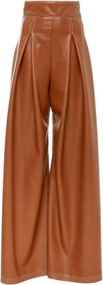 Christian Siriano Faux Leather Pleated Wide Leg Trouser