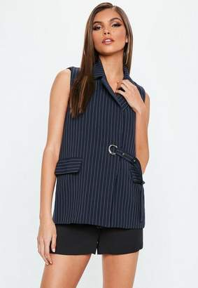 Missguided Navy Ring Tie Pinstripe Sleeveless Jacket