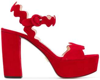 Prada scalloped platform sandals
