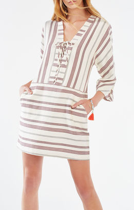 Milana Striped Lace-Up Tunic Dress $198 thestylecure.com