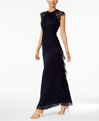 Betsy & Adam Ruched Lace-Trim Gown $149 thestylecure.com