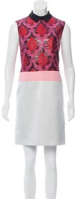 Mary Katrantzou Brocade-Accented Mini Dress w/ Tags Grey Brocade-Accented Mini Dress w/ Tags