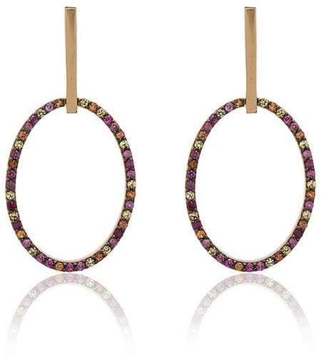 Ileana Makri 18k yellow gold diamond hoop earrings