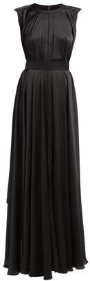 Maison Rabih Kayrouz Panelled Pleated Satin Gown - Womens - Black