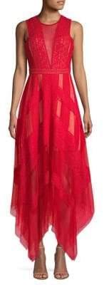 BCBGMAXAZRIA Asymmetrical Lace Dress